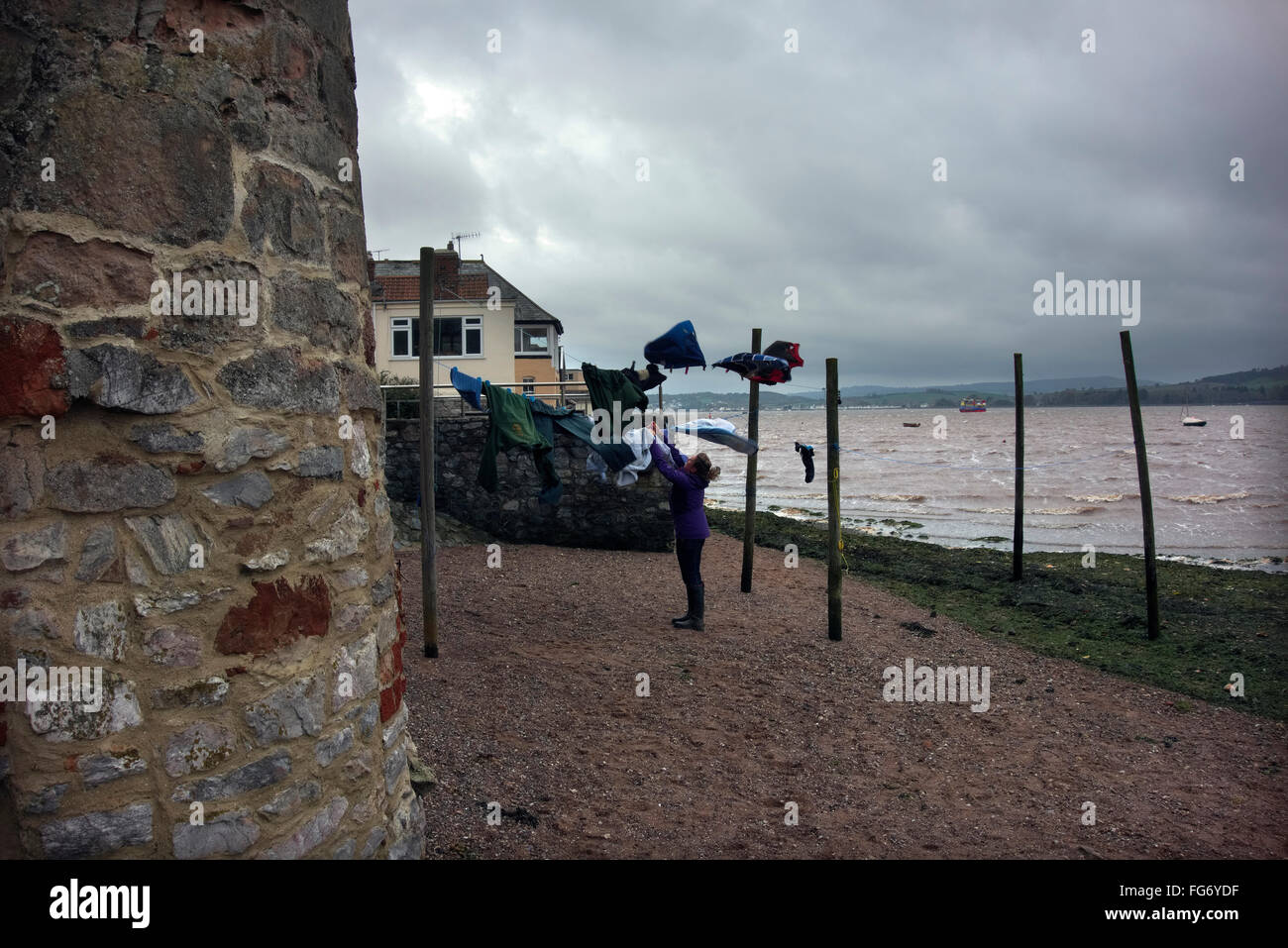 A drying breeze at Lympstone on the Exe estuary - Stock Image