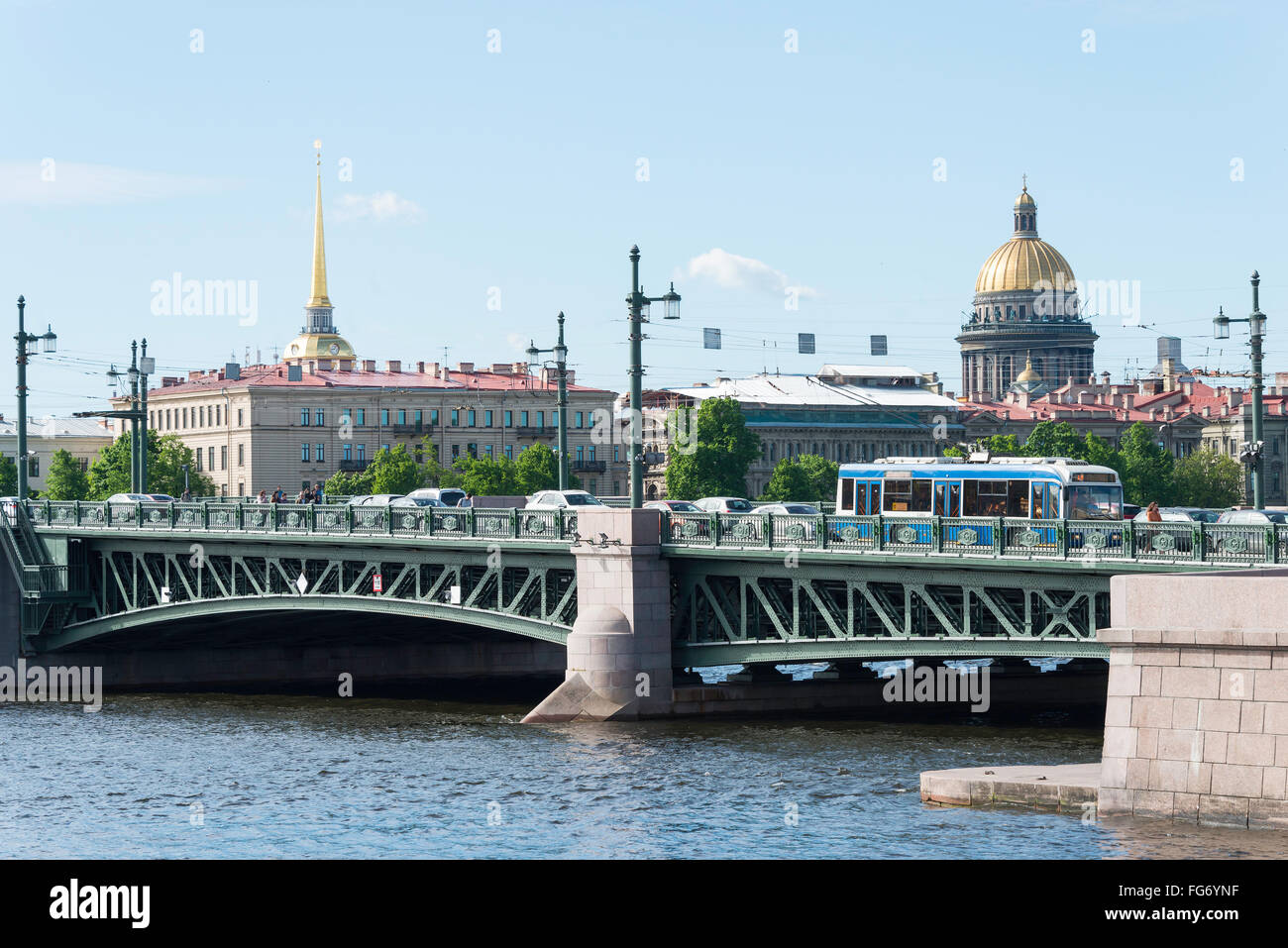 Palace Bridge and River Neva from Vasilievsky Island, Saint Petersburg, Northwestern Region, Russian Federation - Stock Image