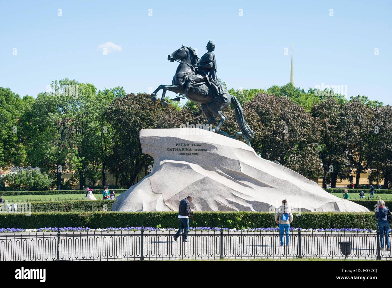 'The Bronze Horseman' statue on banks of River Neva, Saint Petersburg, Northwestern Region, Russian Federation - Stock Image