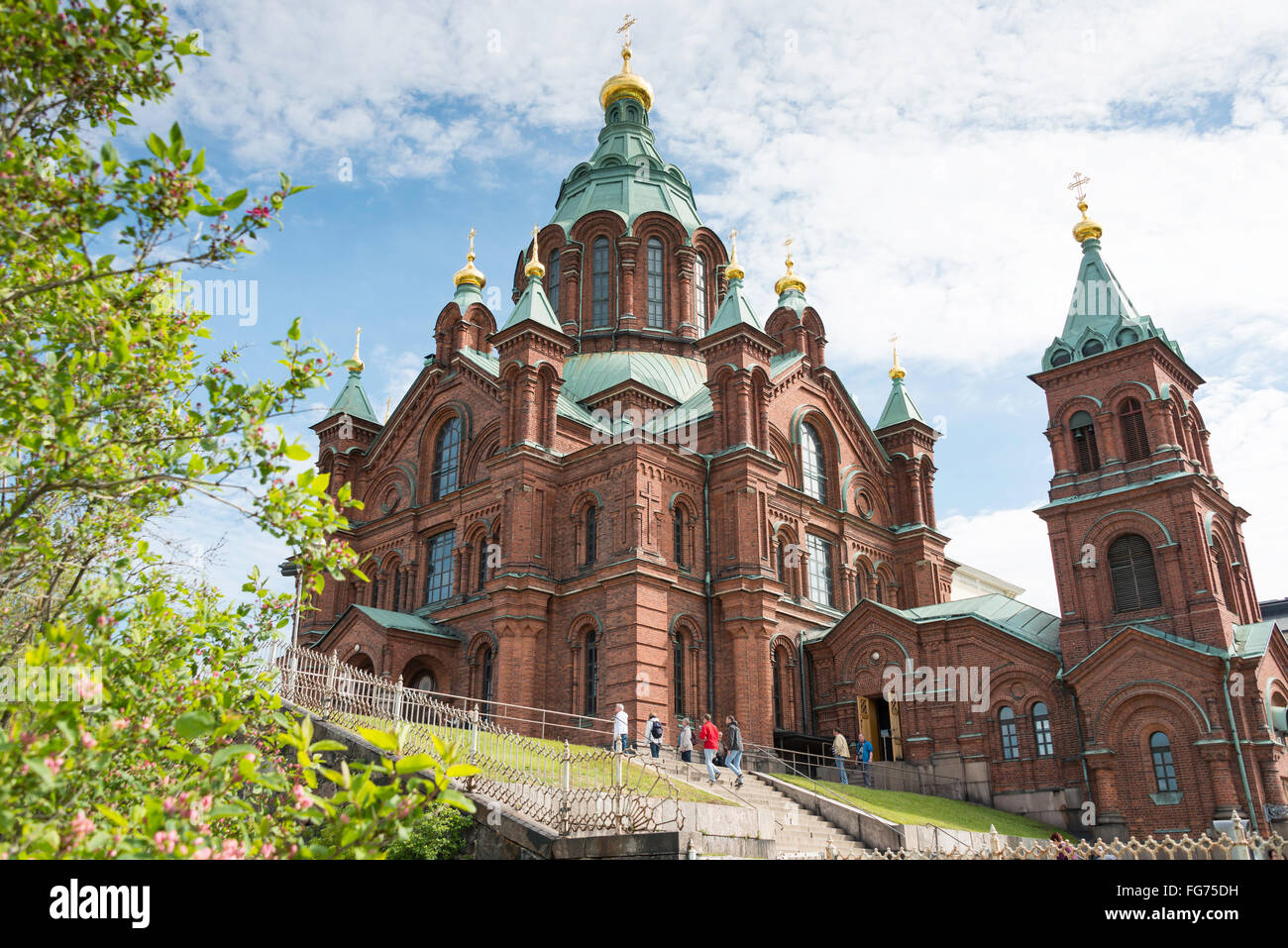 Uspenski Orthodox Cathedral (Uspenskin katedraali), Kanavakatu, Helsinki, Uusimaa Region, Republic of Finland - Stock Image