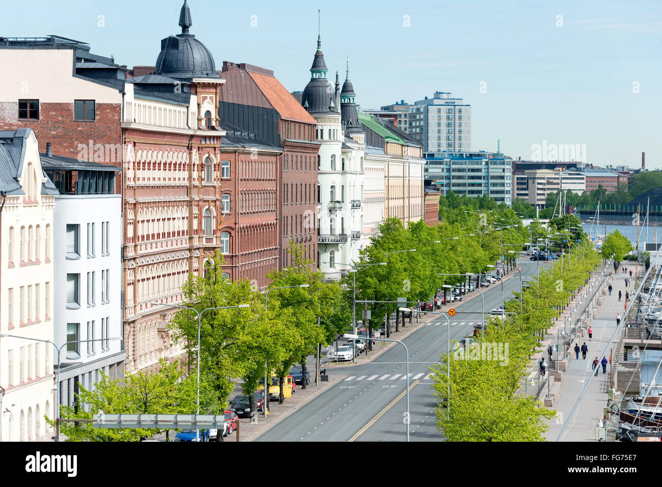 Tree-lined Pohjoisranta (E75) Street, Helsinki, Uusimaa Region, Republic of Finland - Stock Image