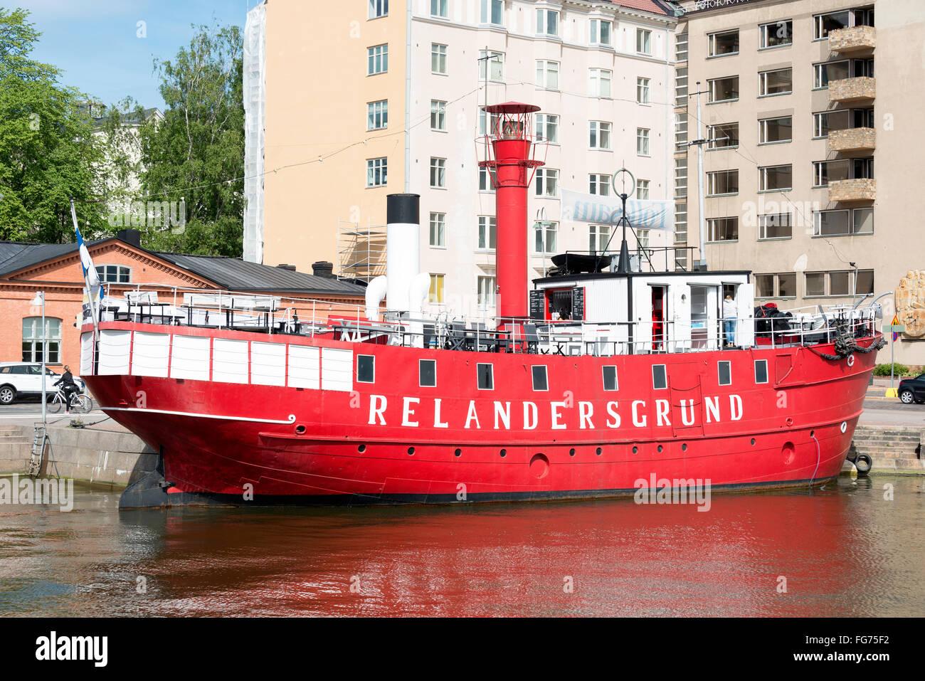 Relandersgrund Bar in converted lighthouse ship, Meritullintori, Pohjoisranta, Helsinki, Uusimaa Region, Republic - Stock Image
