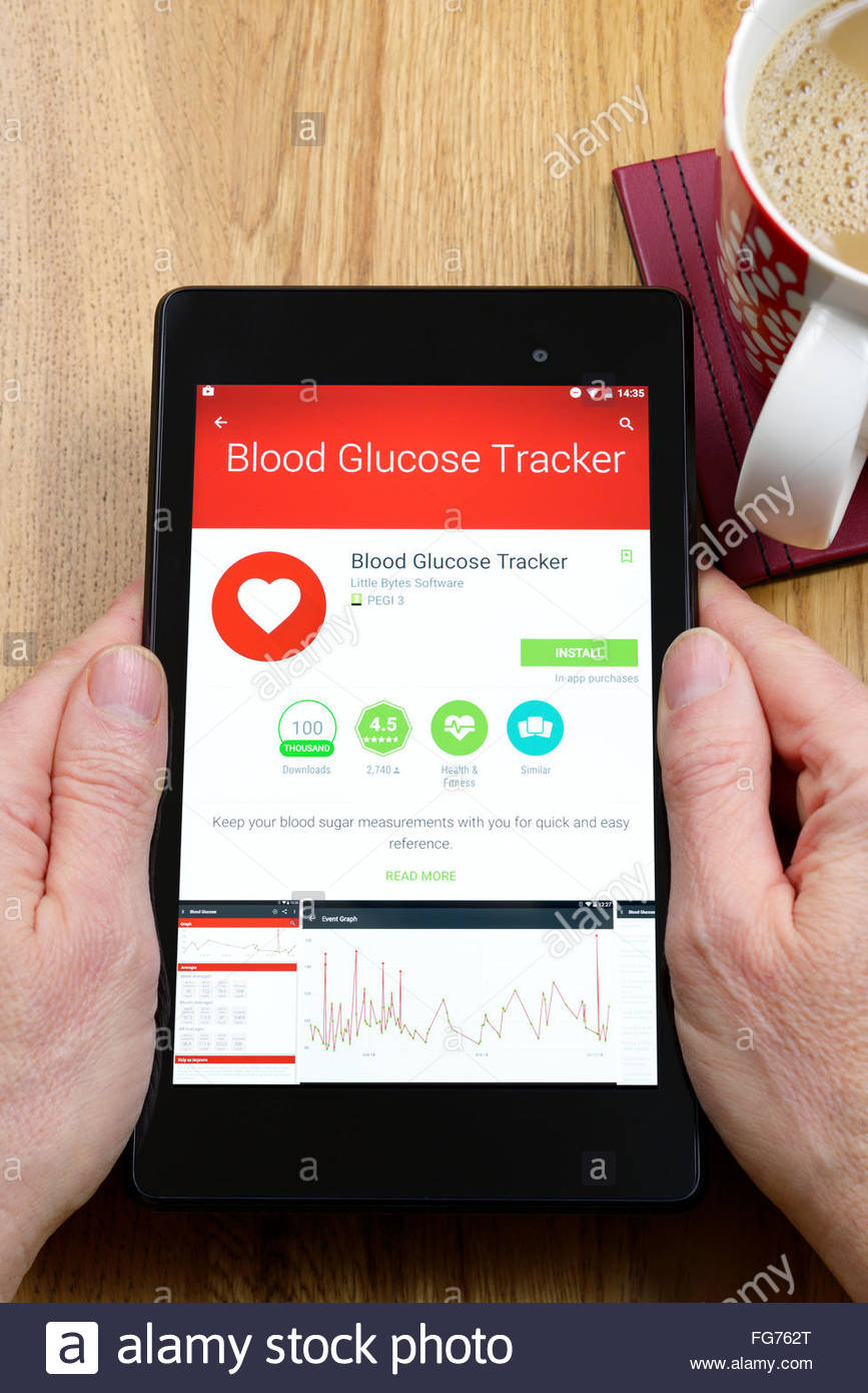 blood glucose tracker health app on an android tablet pc dorset