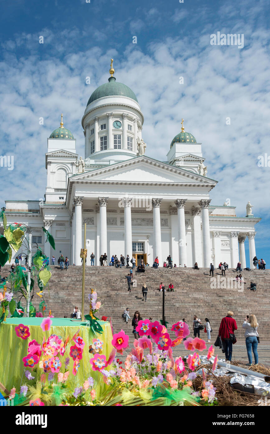 Helsinki Lutheran Cathedral and colourful float, Senate Square, Helsinki, Uusimaa Region, Republic of Finland - Stock Image