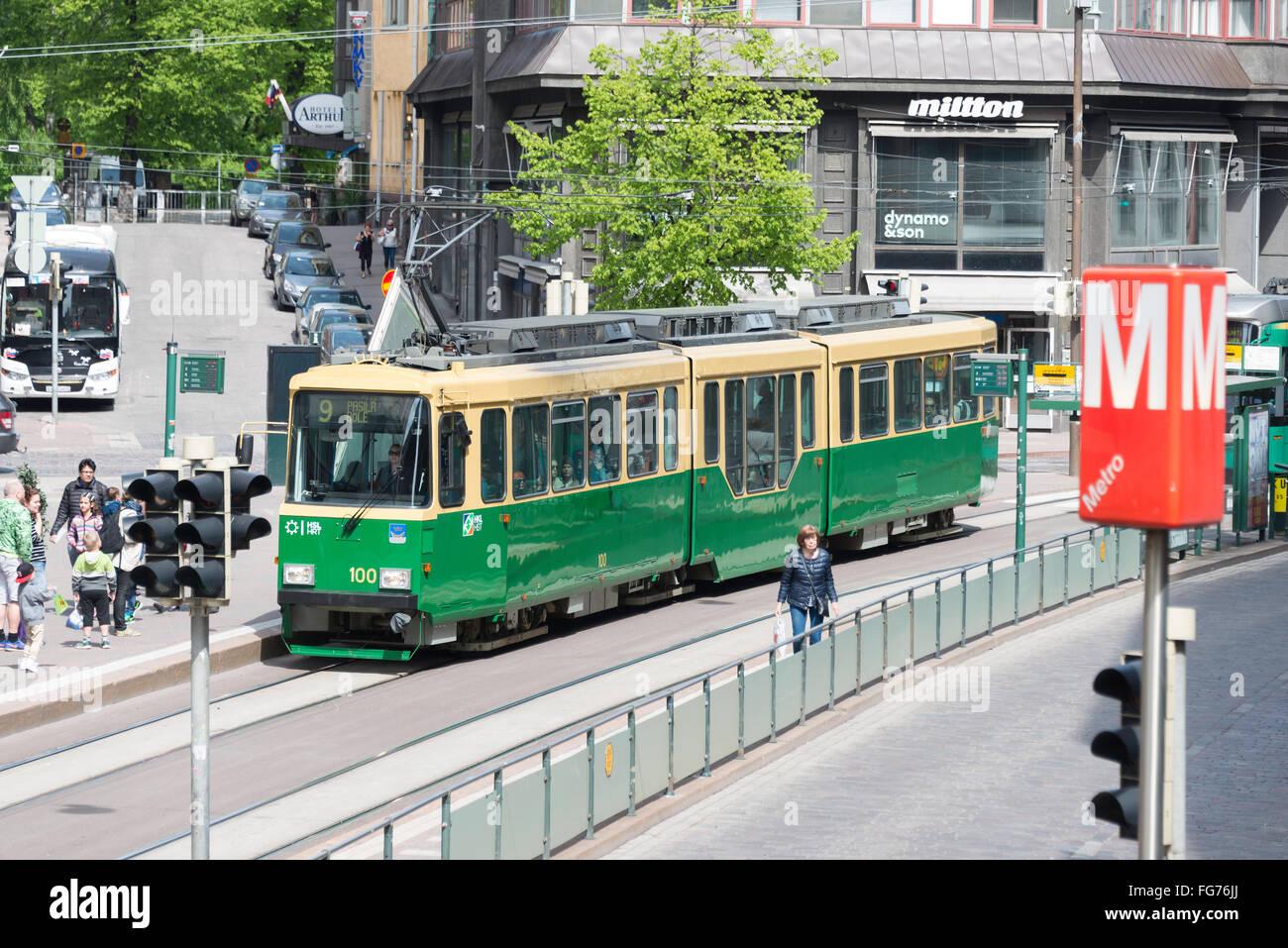 Metro tram in city centre, Vuorikatu, Helsinki, Uusimaa Region, Republic of Finland Stock Photo