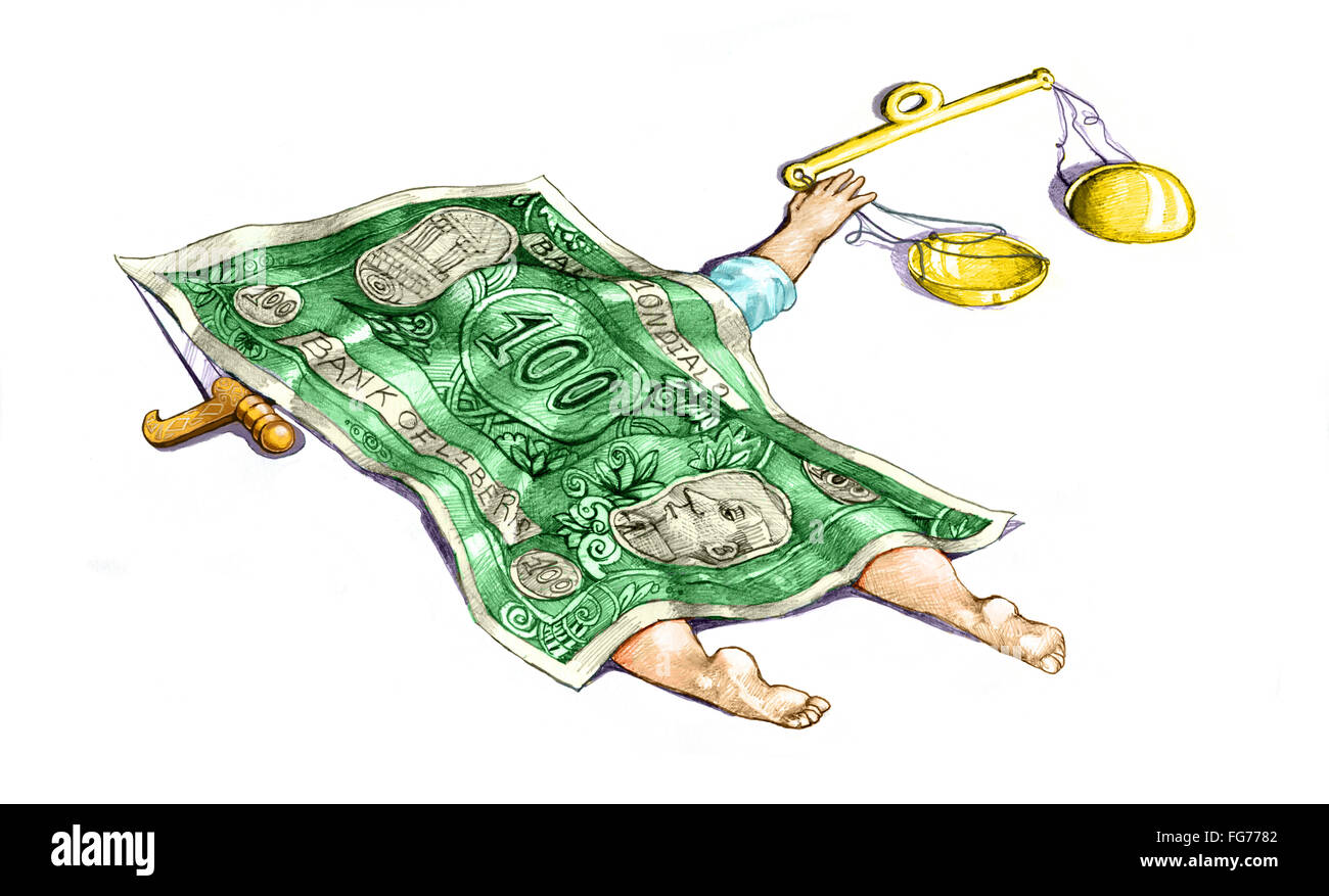 Justice is dead, covered with a sheet that is a banknote - Stock Image