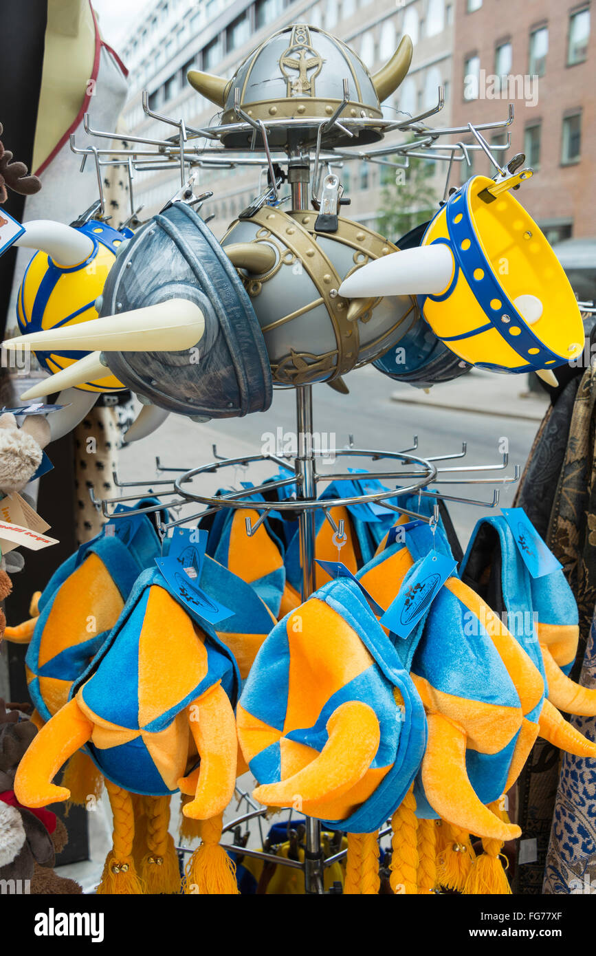 Swedish Viking souvenirs outside shop on Drottninggatan (Queen Street), Norrmalm District, Stockholm, Kingdom of - Stock Image