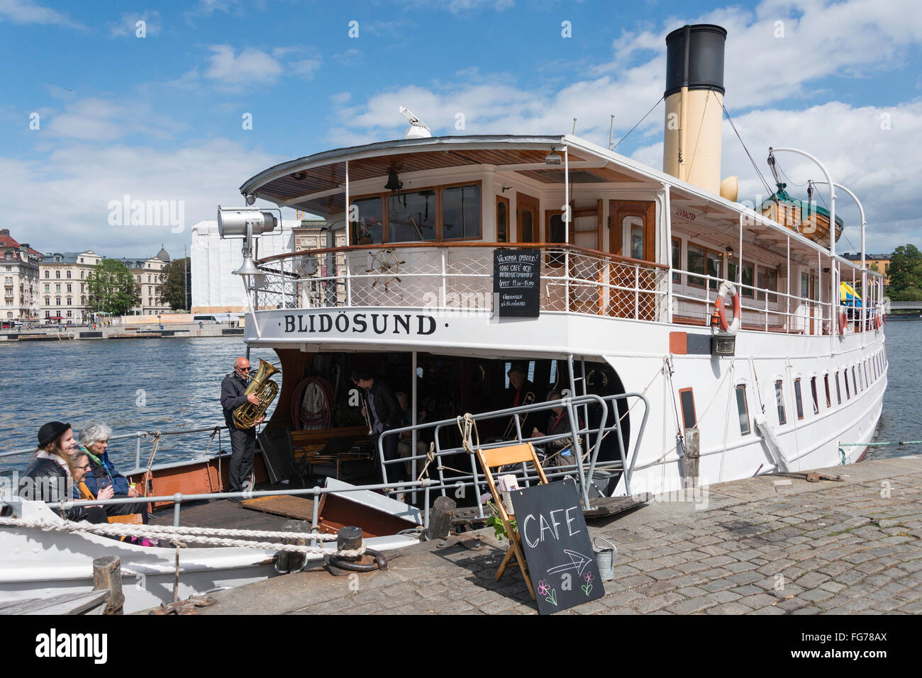 Cafe on board Blidosund steam boat, Gamla Stan (Old Town), Stadsholmen, Stockholm, Kingdom of Sweden - Stock Image