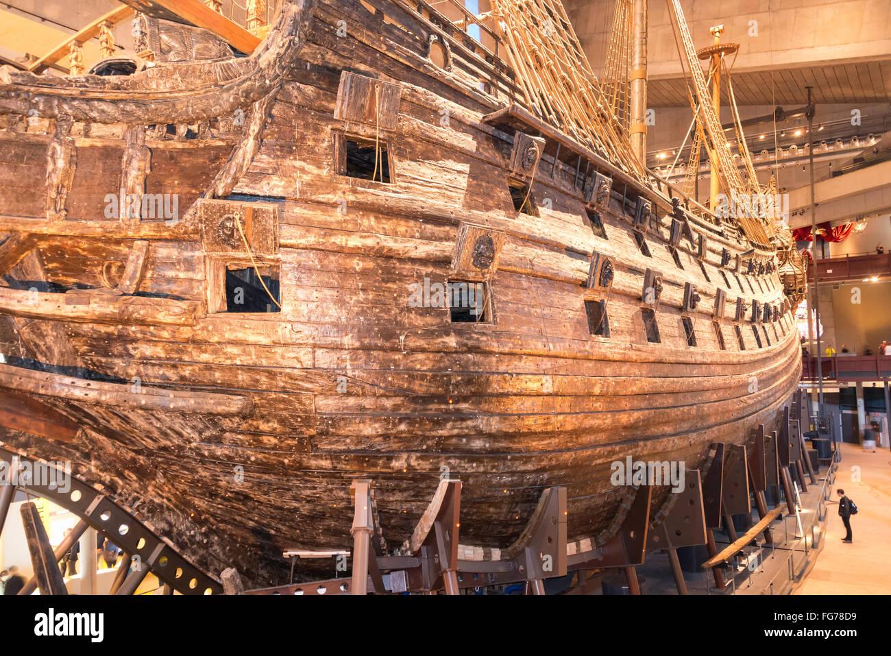 17th-century 'Vasa' warship, Vasa Museum, Galärvarvsvägen, Djurgården, Stockholm, Kingdom - Stock Image