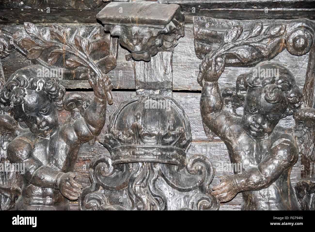 Stern panel of 17th-century 'Vasa' warship, Vasa Museum, Galärvarvsvägen, Djurgården, Stockholm, - Stock Image
