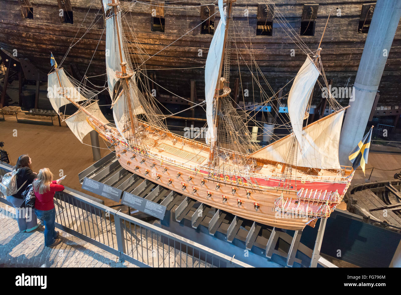 Scale model of 17th-century 'Vasa' warship, Vasa Museum, Galärvarvsvägen, Djurgården, Stockholm, - Stock Image