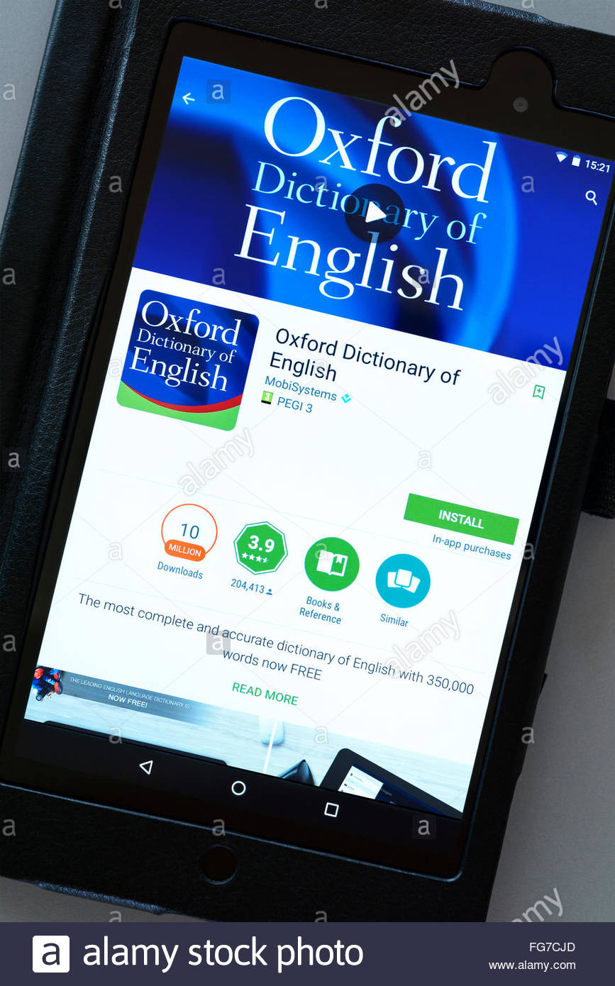 Oxford dictionary app on an android tablet PC, Dorset