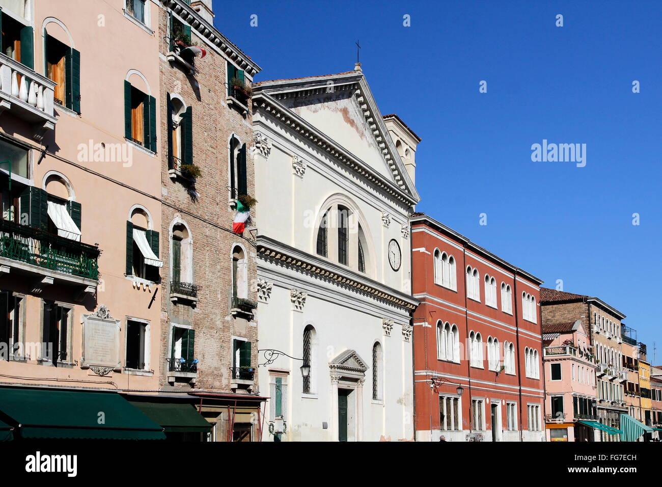 geography / travel, Italy, Venetia, Venice, Castello Quarter, Via Giuseppe Garibaldi, Chiesa di San Francesco di - Stock Image