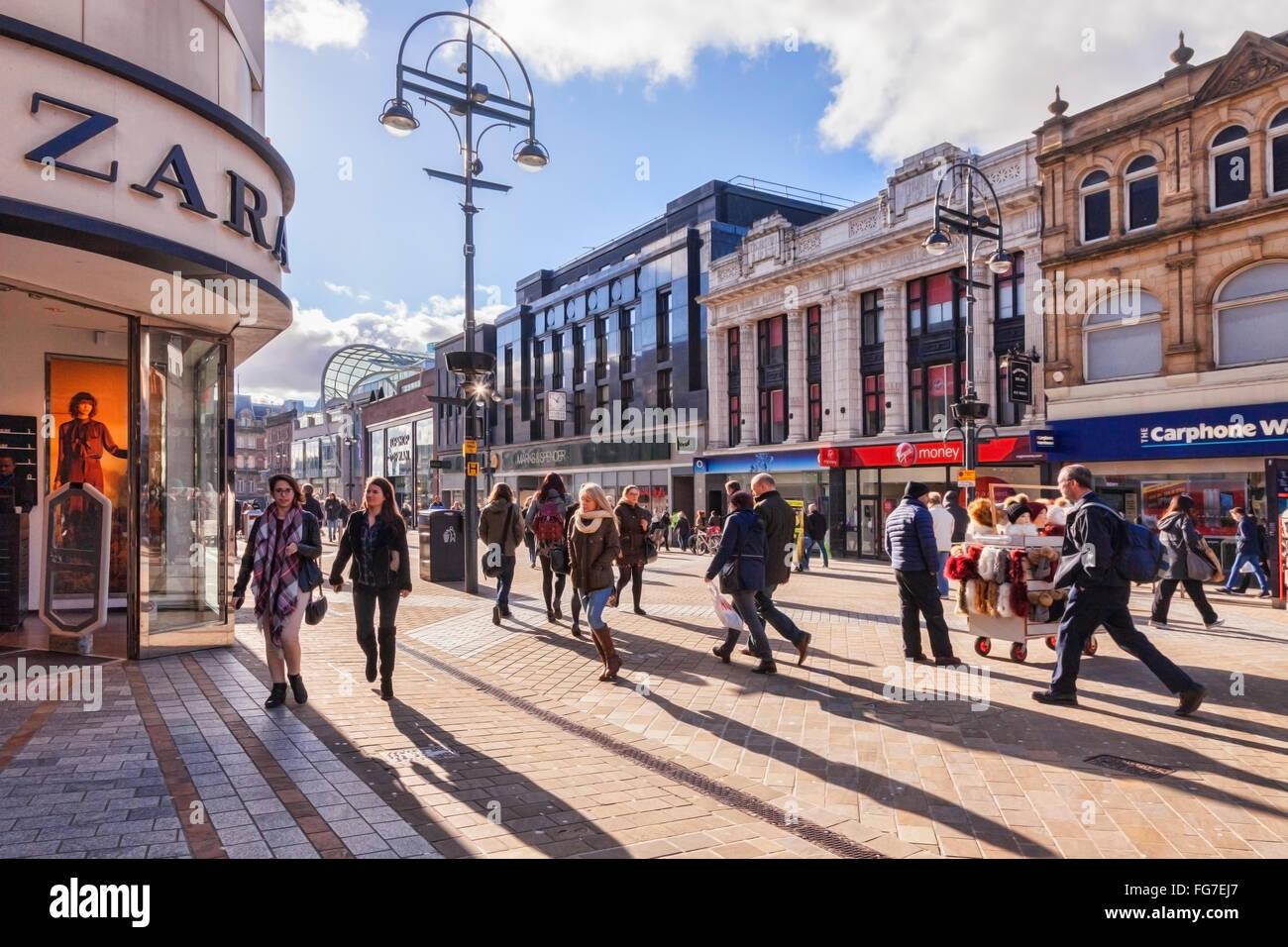 Shoppers in Briggate, Leeds,West Yorkshire, England,UK - Stock Image