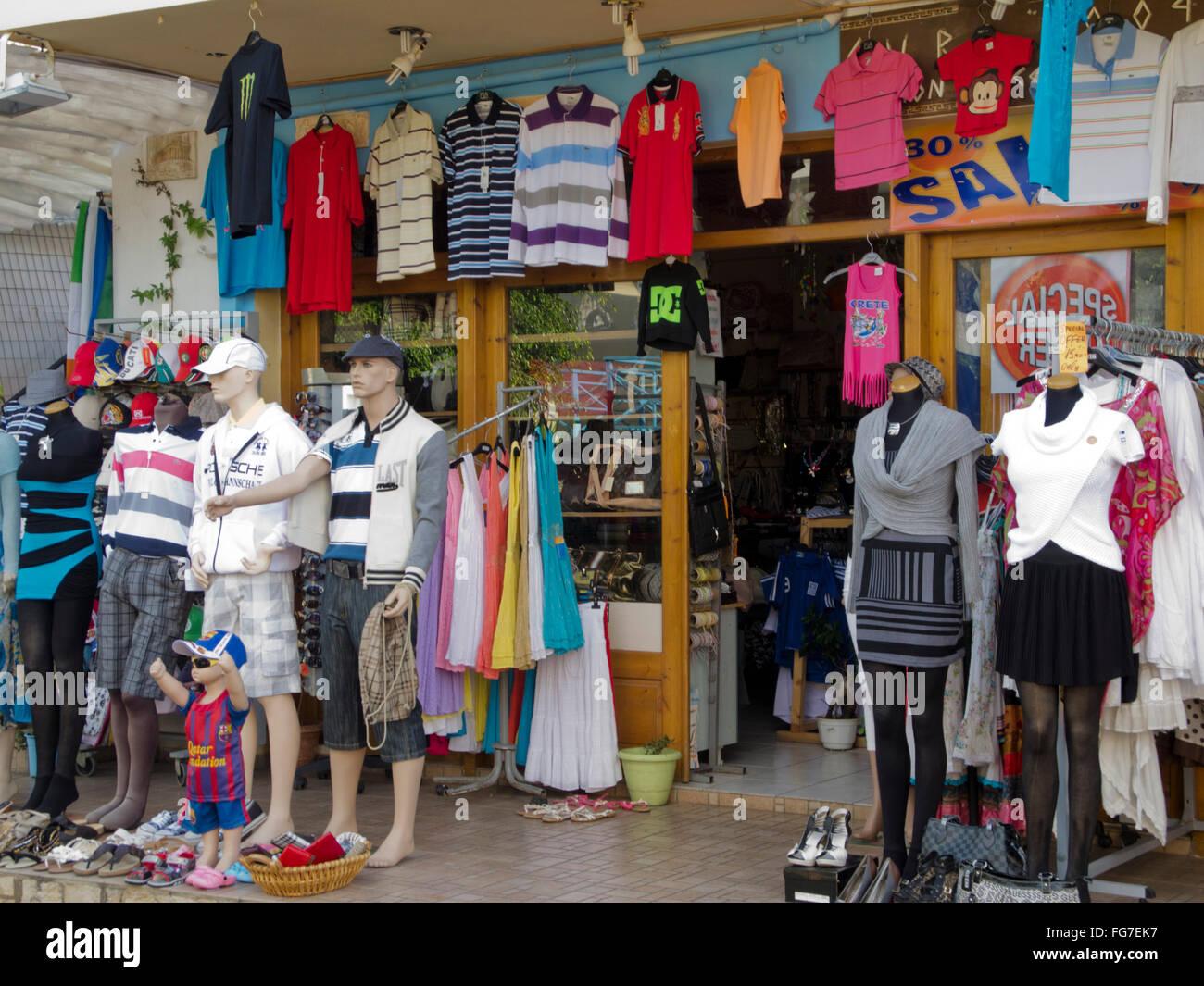 Griechenland, Kreta, Piskopiano bei Chersonissos, Touristenbedarf - Stock Image