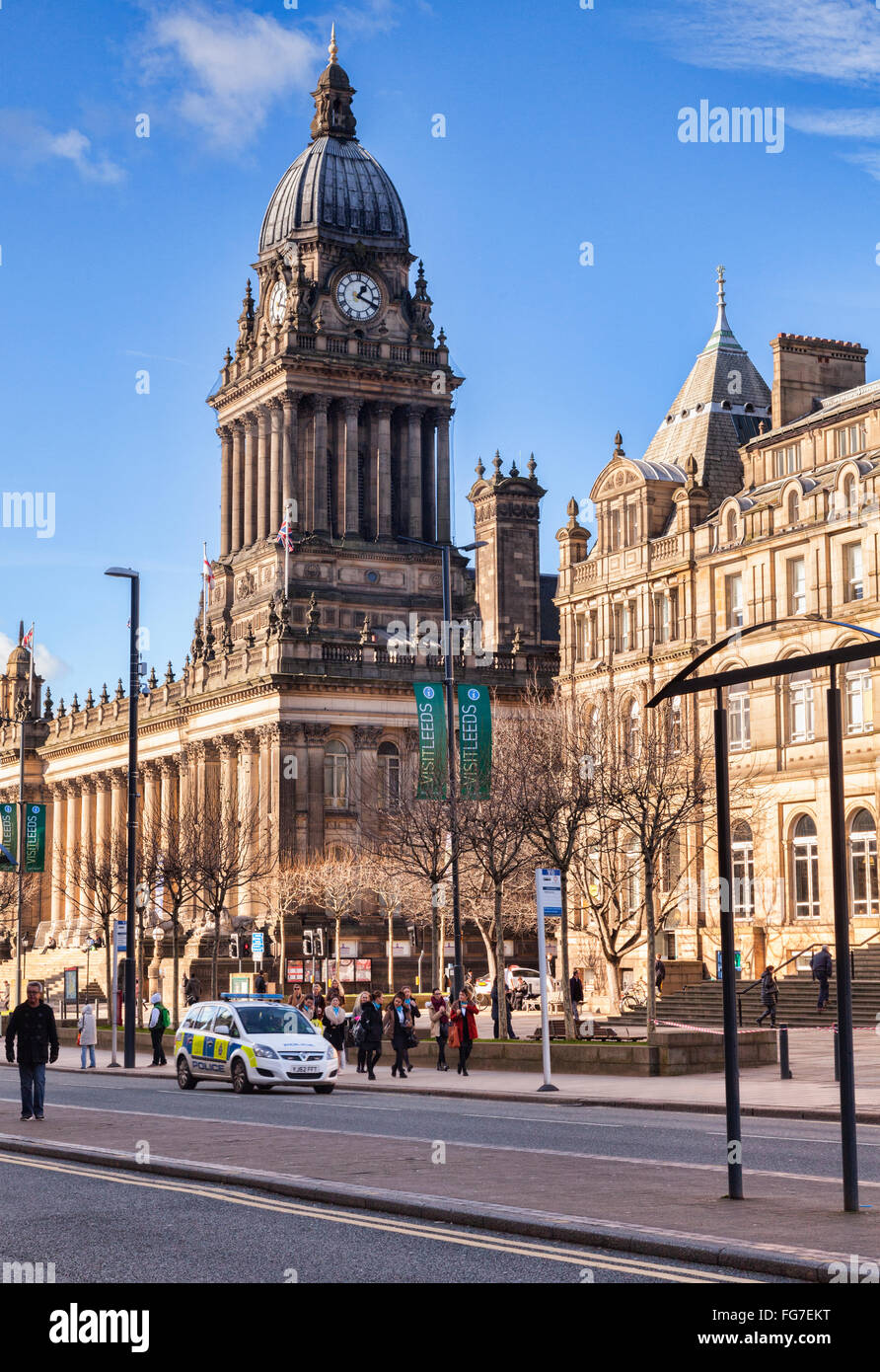 Leeds Town Hall, The Headrow, Leeds, West Yorkshire, England, UK - Stock Image