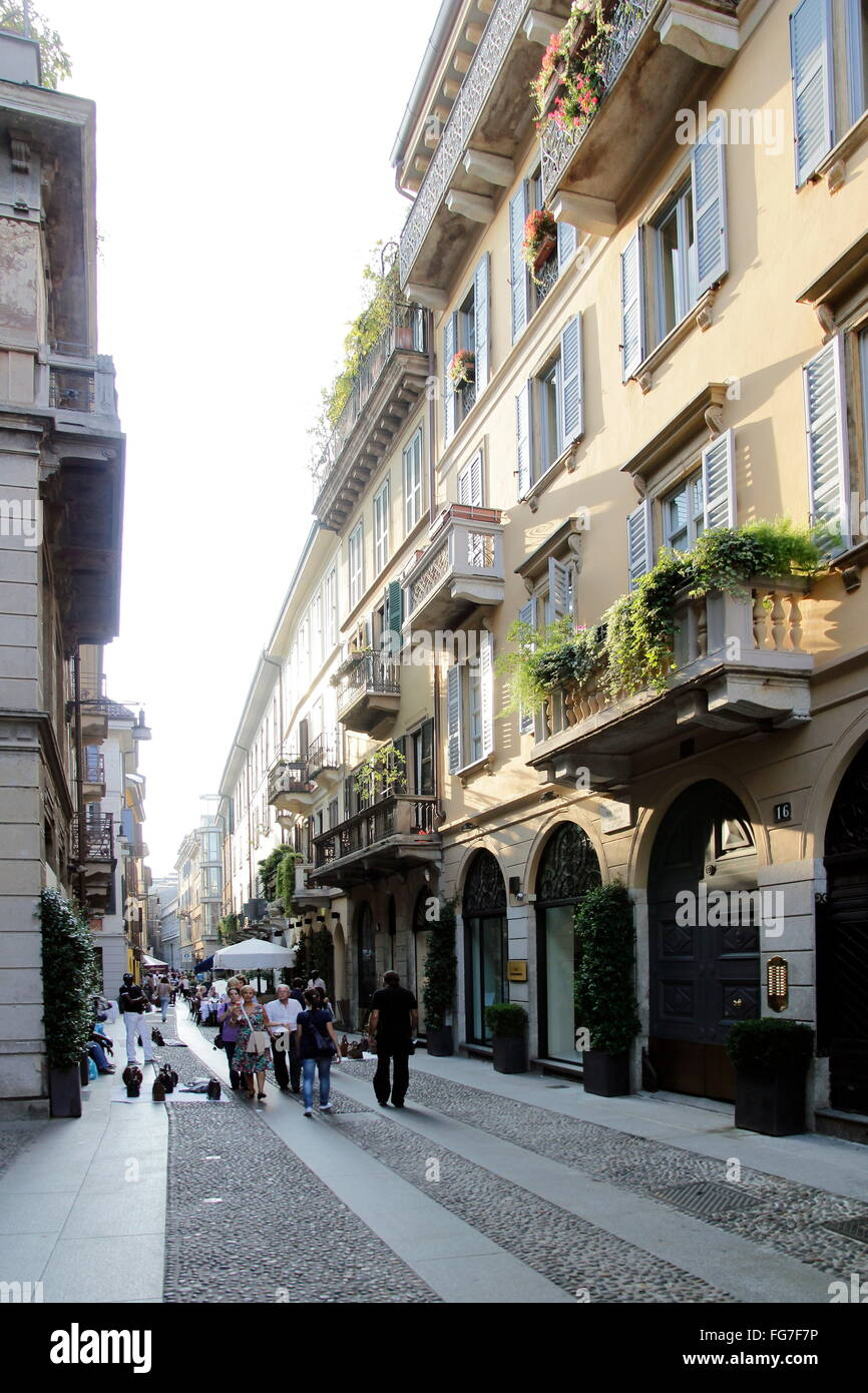 geography / travel, Italy, Lombardy, Milan, Brera Quarter, Via Fiori Chiari, Additional-Rights-Clearance-Info-Not - Stock Image