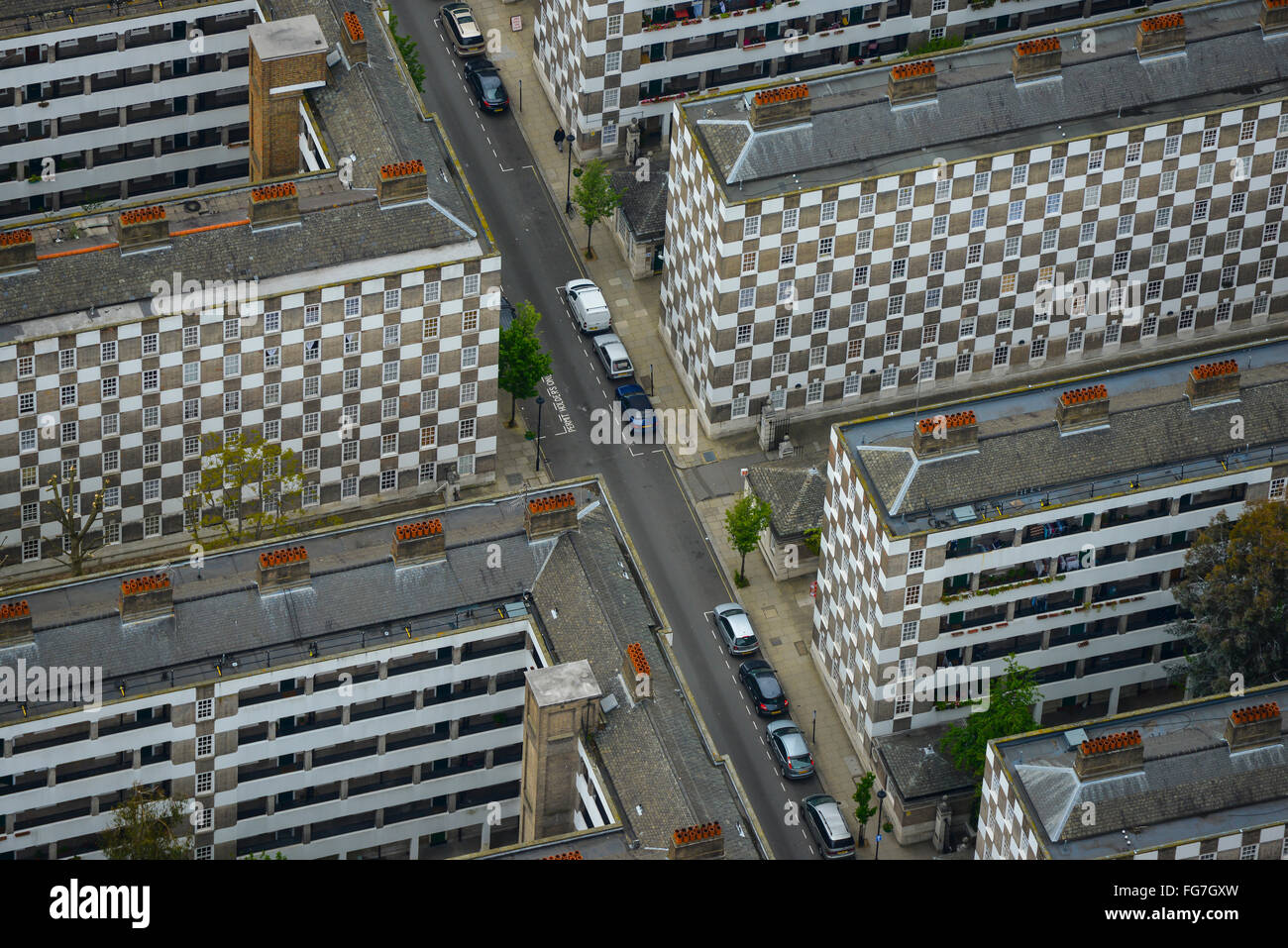 An aerial view of the Page Street social housing designed by Edwin Lutyens in Westminster - Stock Image