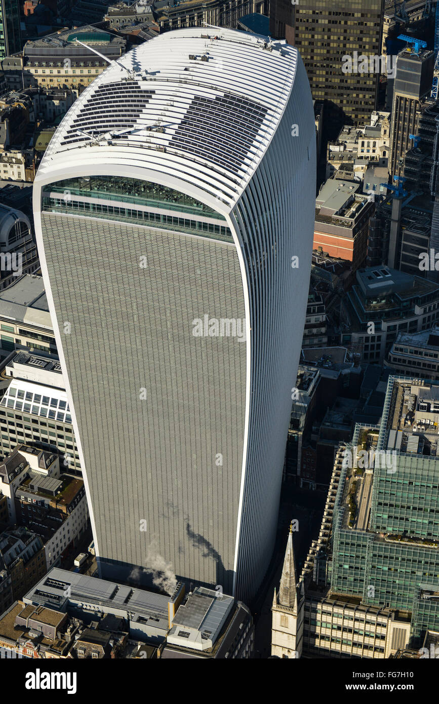 An aerial view of 20 Fenchurch Street, commonly known as the Walkie Talkie building - Stock Image