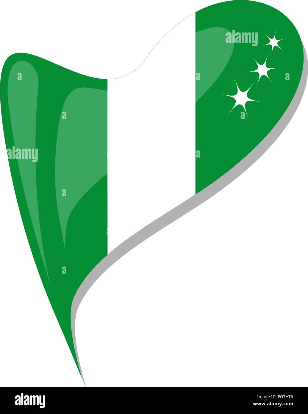 Vector nigeria flag heart glossy stock photos vector nigeria flag nigeria in heart icon of nigeria national flag vector stock image ccuart Choice Image