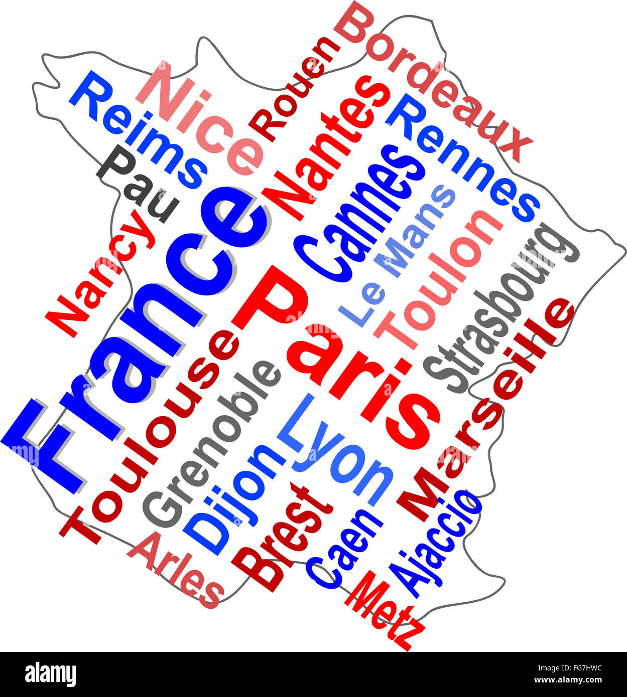 Cities Of France Map.France Map And Words Cloud With Larger Cities Stock Photo 96054040