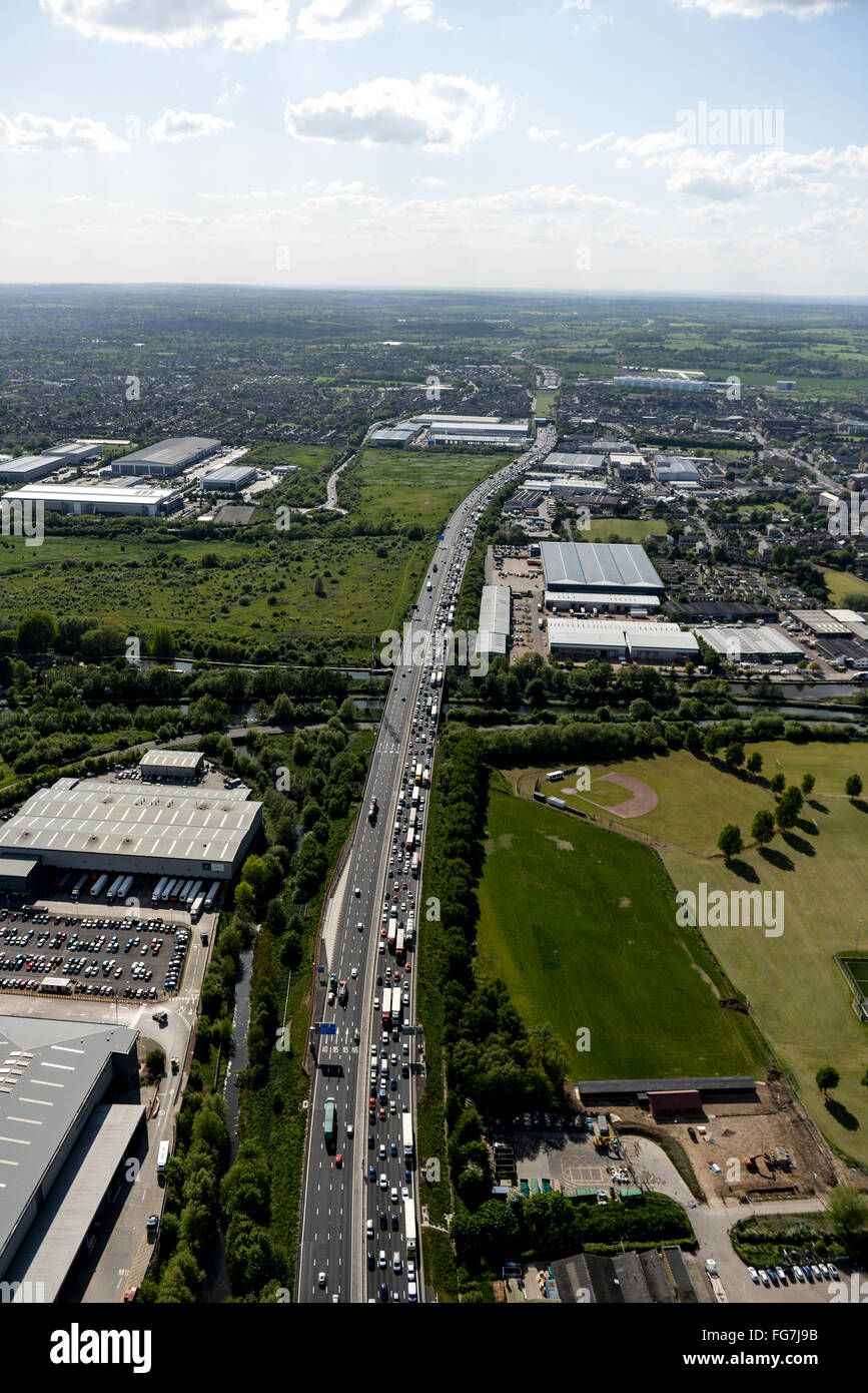 An aerial view of traffic congestion on the M25 near Waltham Abbey Stock Photo
