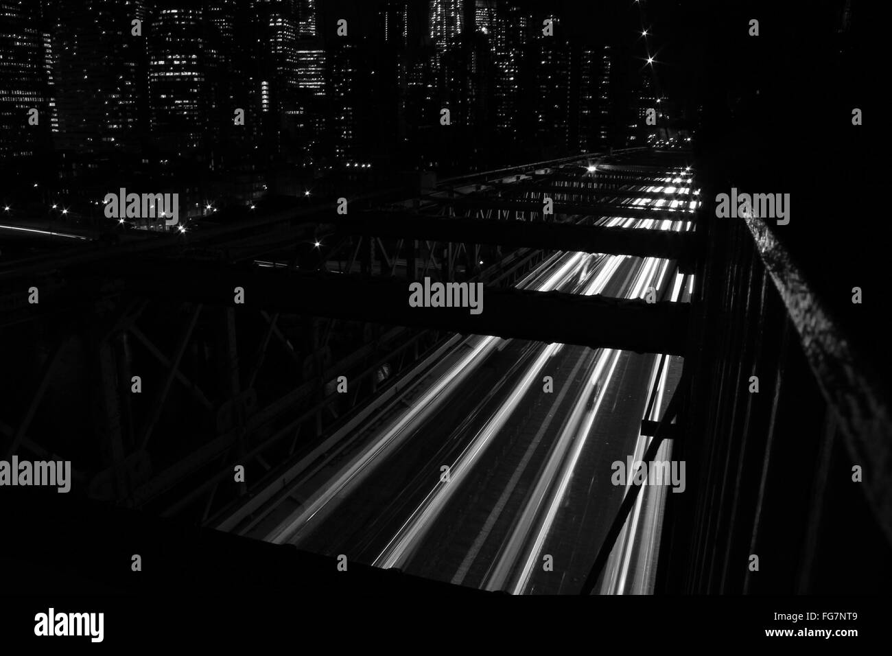 High Angle View Of Light Trails At Night - Stock Image