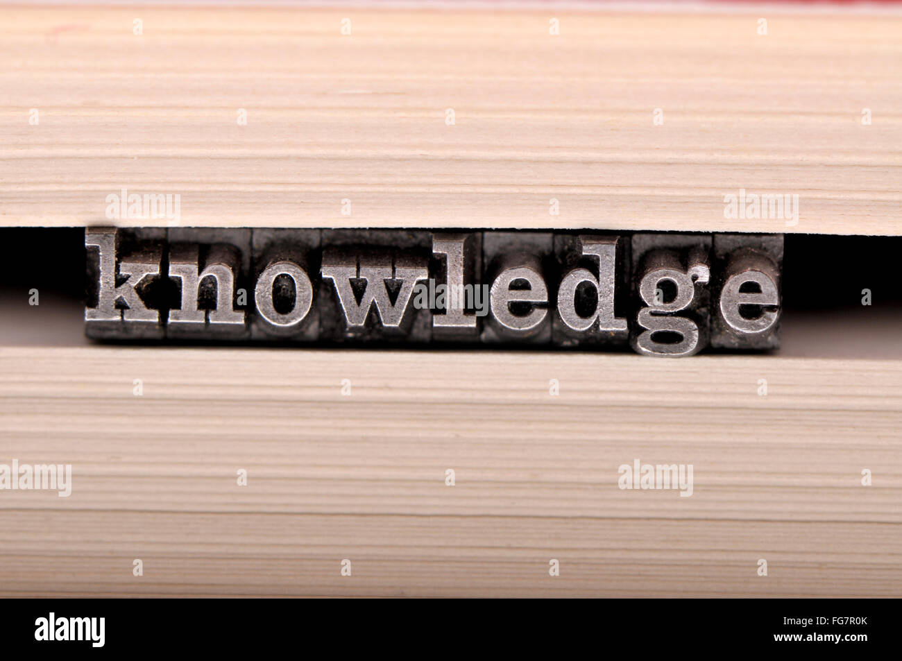 Letterpress characters spelling out 'knowledge' in the pages of a book - Stock Image