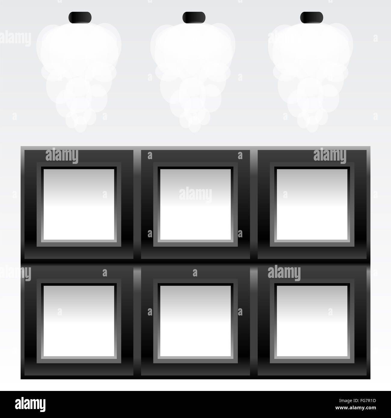 empty six frames on wall with light, vector Stock Photo: 96058073 ...