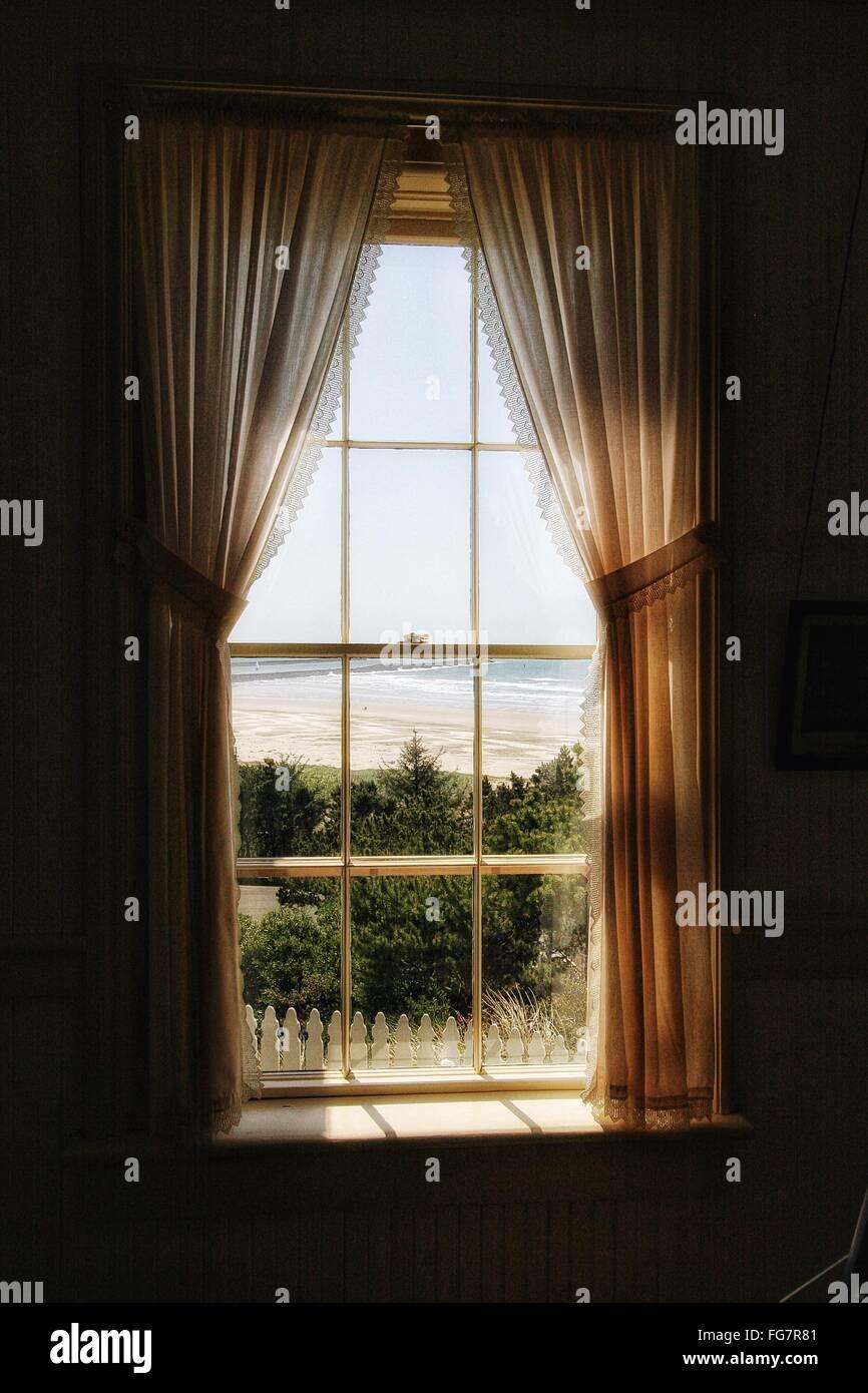 Sea Seen Through Window - Stock Image