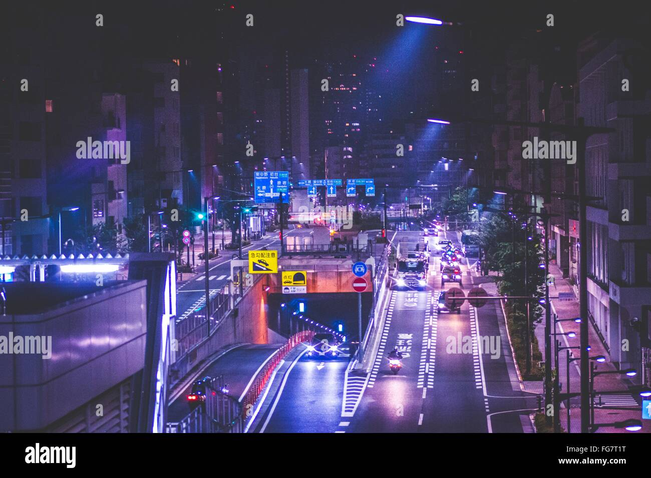 Busy Street At Night - Stock Image