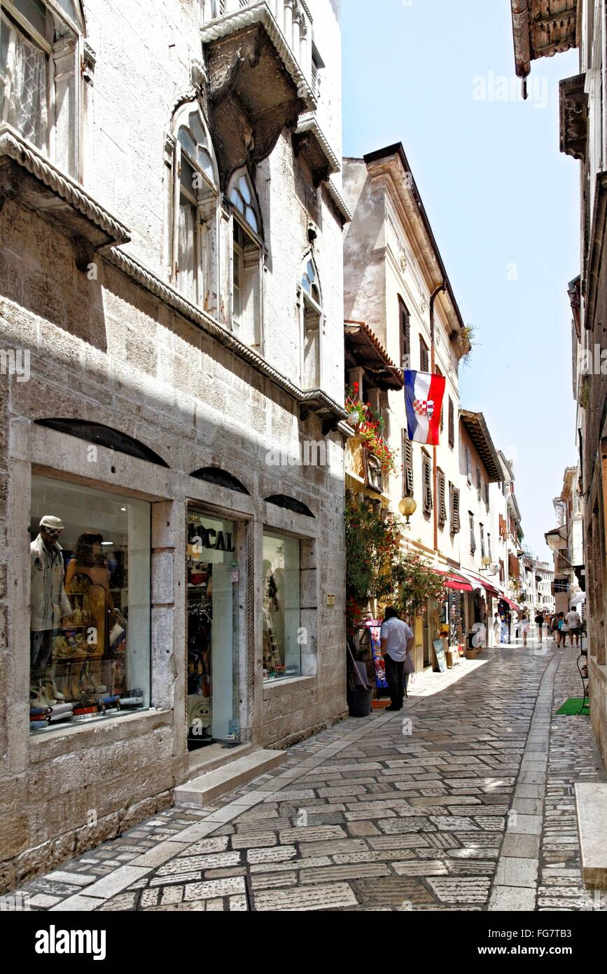 geography / travel, Croatia, Istria, Porec, Ulica Decumanus, Additional-Rights-Clearance-Info-Not-Available - Stock Image