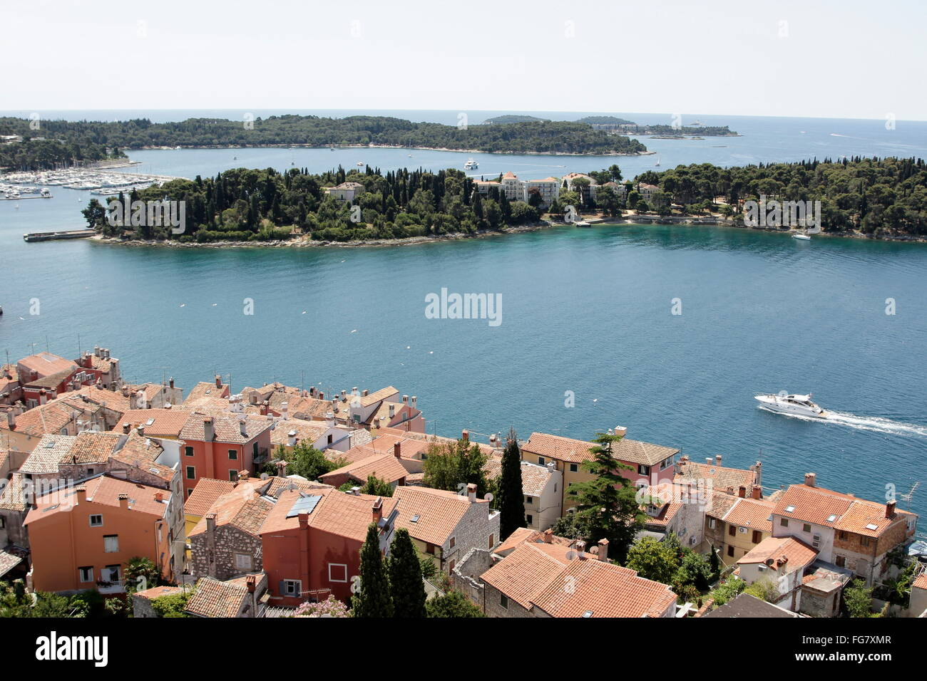 geography / travel, Croatia, Istria, Rovinj, view from steeple of St. Euphemia towards the isle St. Katarina, Additional - Stock Image