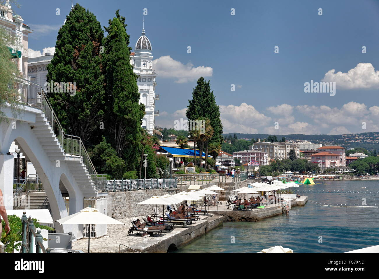 geography / travel, Croatia, Istria, Opatija, promenade and beach, Additional-Rights-Clearance-Info-Not-Available - Stock Image
