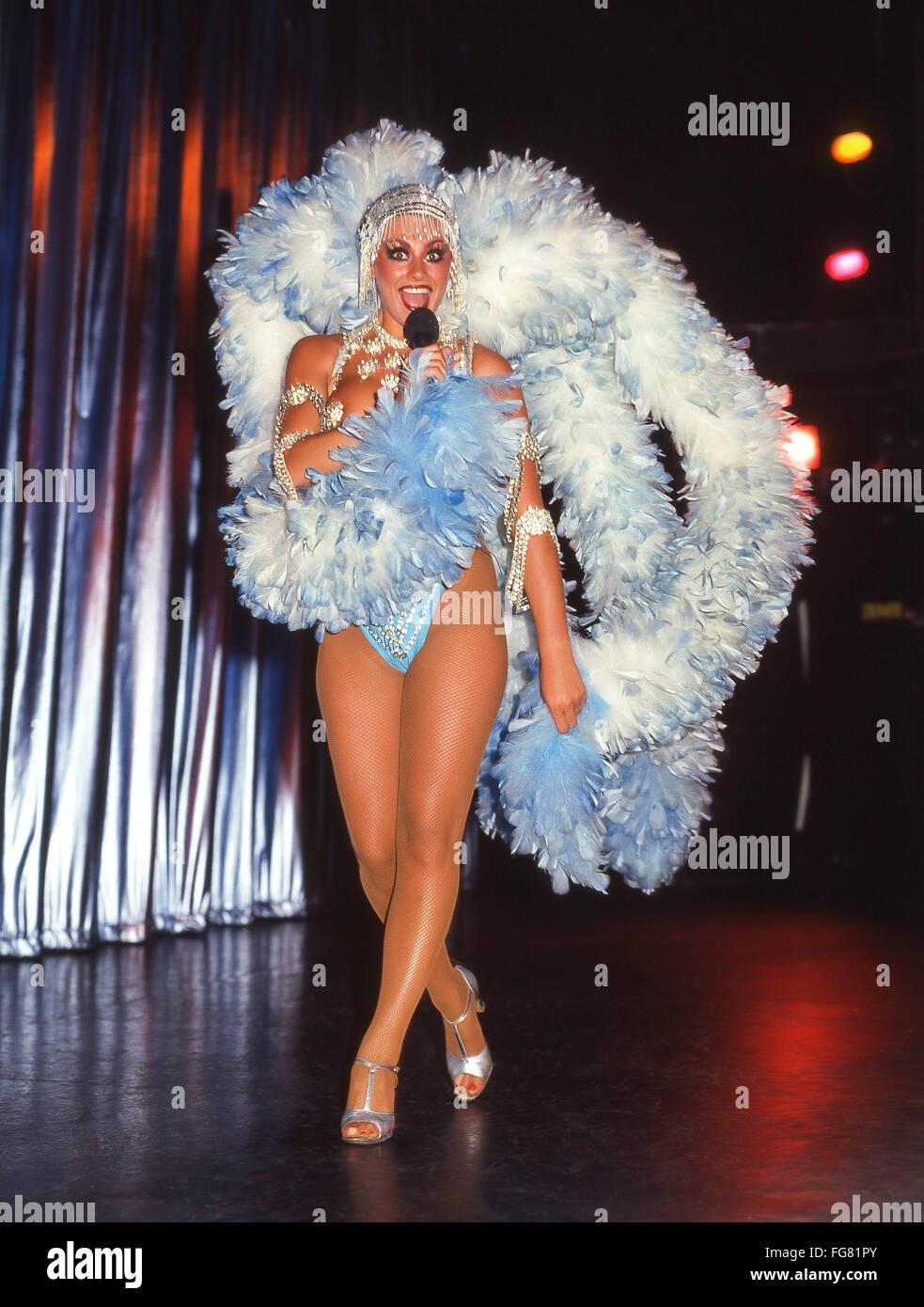 Showgirl dancer at Benidorm Palace Nightclub, Avenida Severo Ochoa, Benidorm, Costa Blanca, Alicante Province, Spain - Stock Image