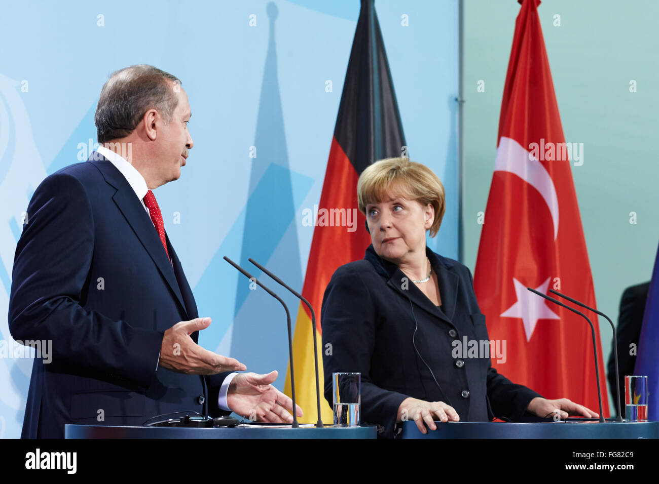Merkel meets Erdogan in Berlin - Stock Image