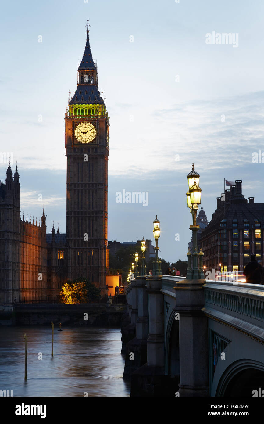 Big Ben and Houses of parliament at dusk in London, nobody - Stock Image