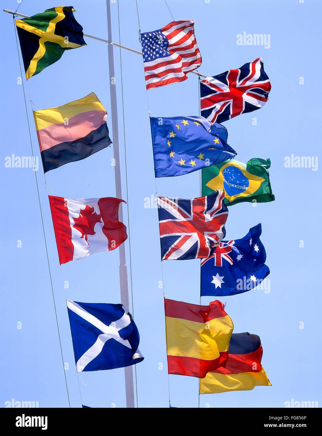 European and World flags on flagpole, Southampton, Hampshire, England, United Kingdom - Stock Image