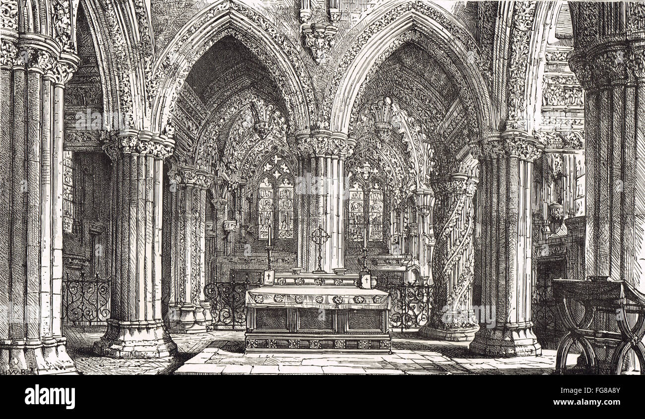 Rosslyn chapel interior East End 1885 - Stock Image