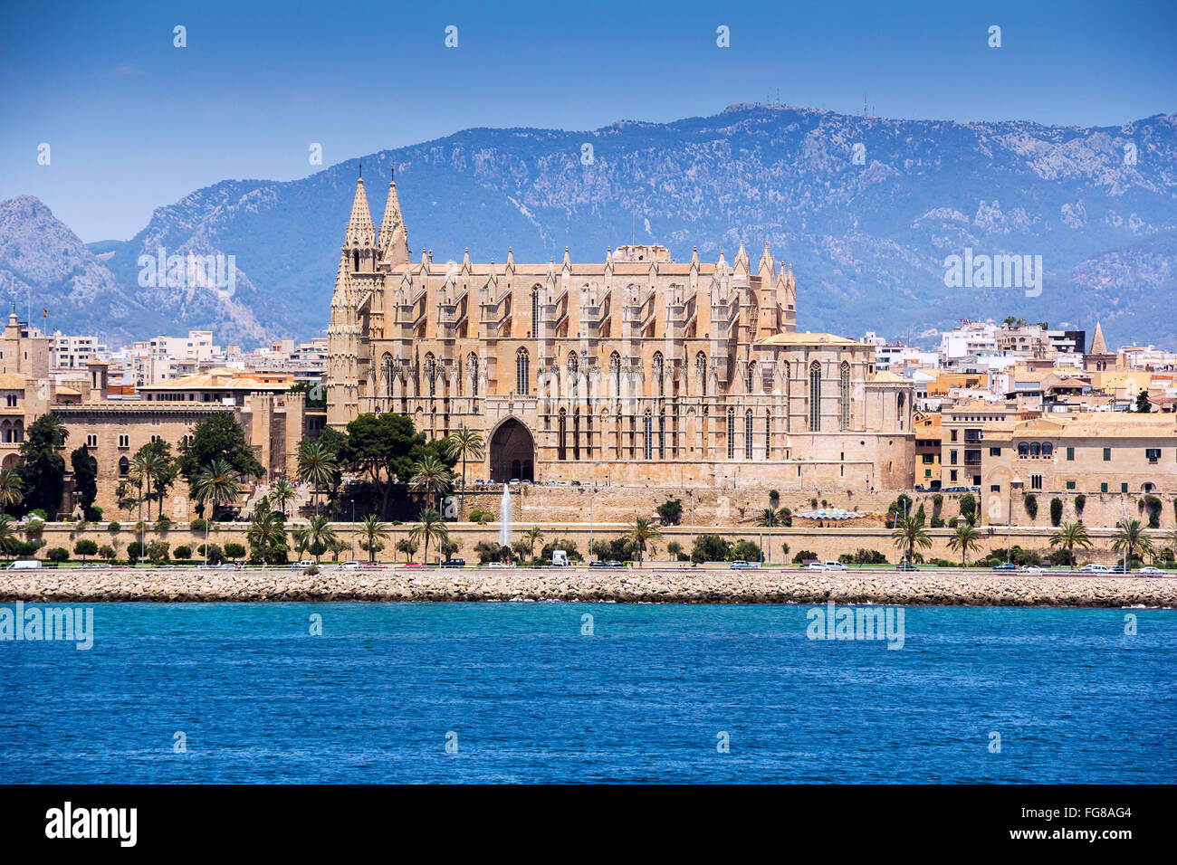 Cathedral Santa Maria of Palma de Mallorca, at Balearic Islands Spain - Stock Image