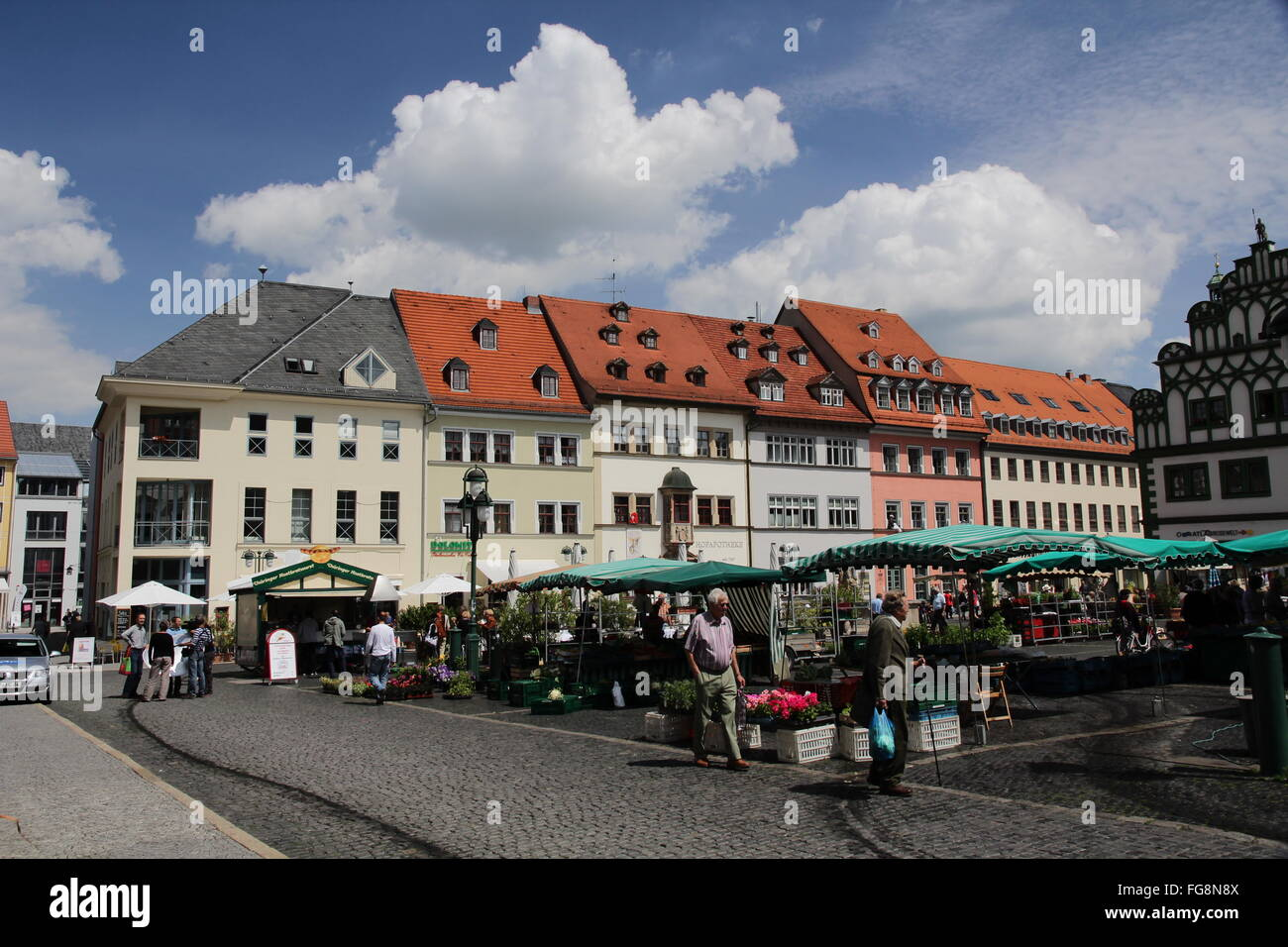geography / travel, Germany, Thuringia, Weimar, marketplace, Additional-Rights-Clearance-Info-Not-Available - Stock Image