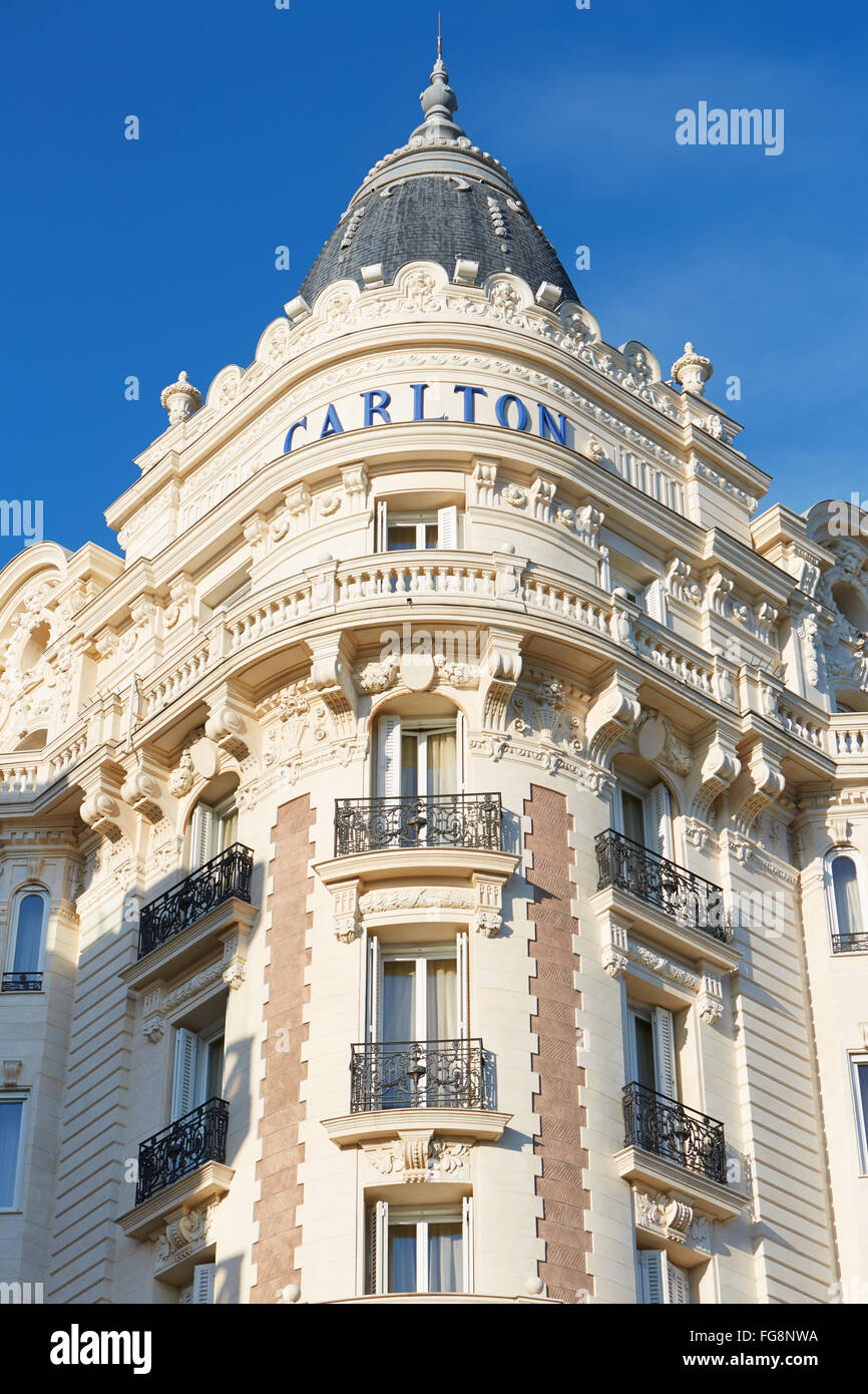Luxury hotel InterContinental Carlton, located on the famous 'La Croisette' boulevard in Cannes - Stock Image