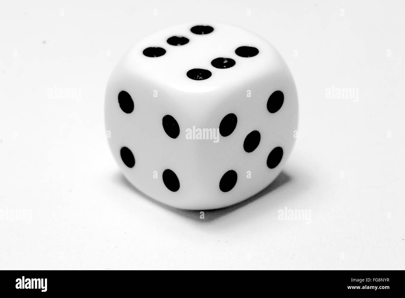 High Angle View Of Dice Against White Background - Stock Image