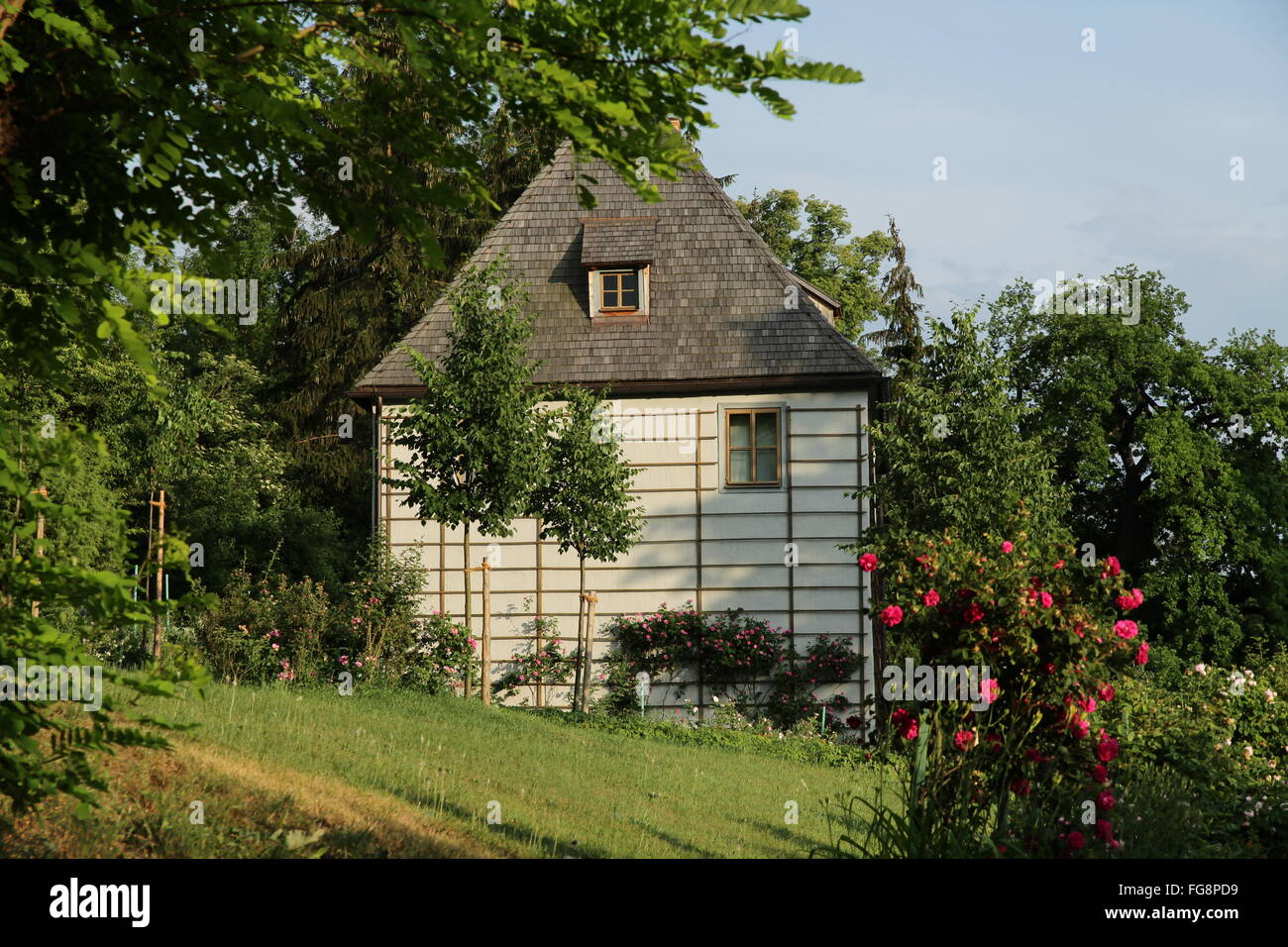 geography / travel, Germany, Thuringia, Weimar, Park at the Ilm River, Goethe summer house, Additional-Rights-Clearance - Stock Image