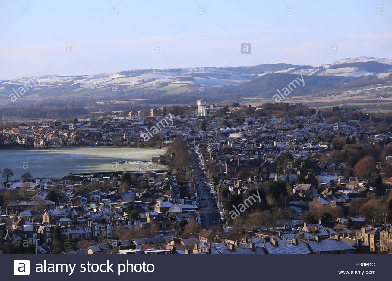 Elevated view of Lochee Park Dundee Scotland  January 2016 - Stock Image