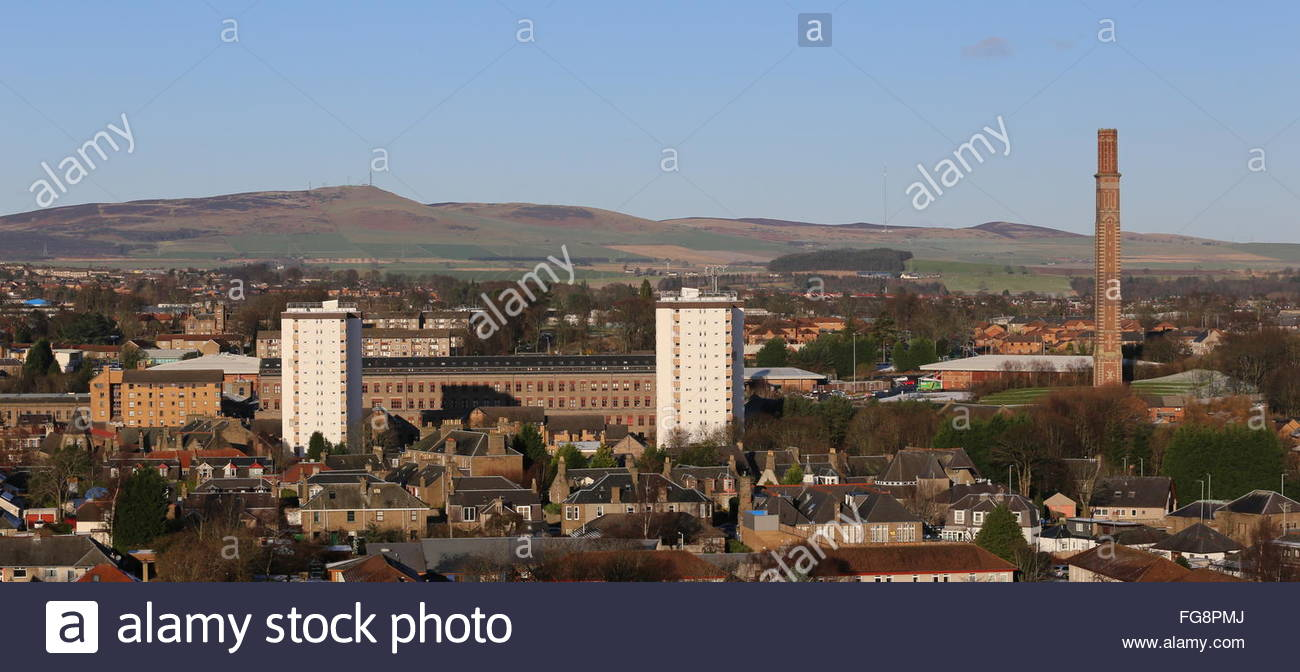 Council housing and Cox's stack chimney Lochee Dundee Scotland  January 2016 - Stock Image