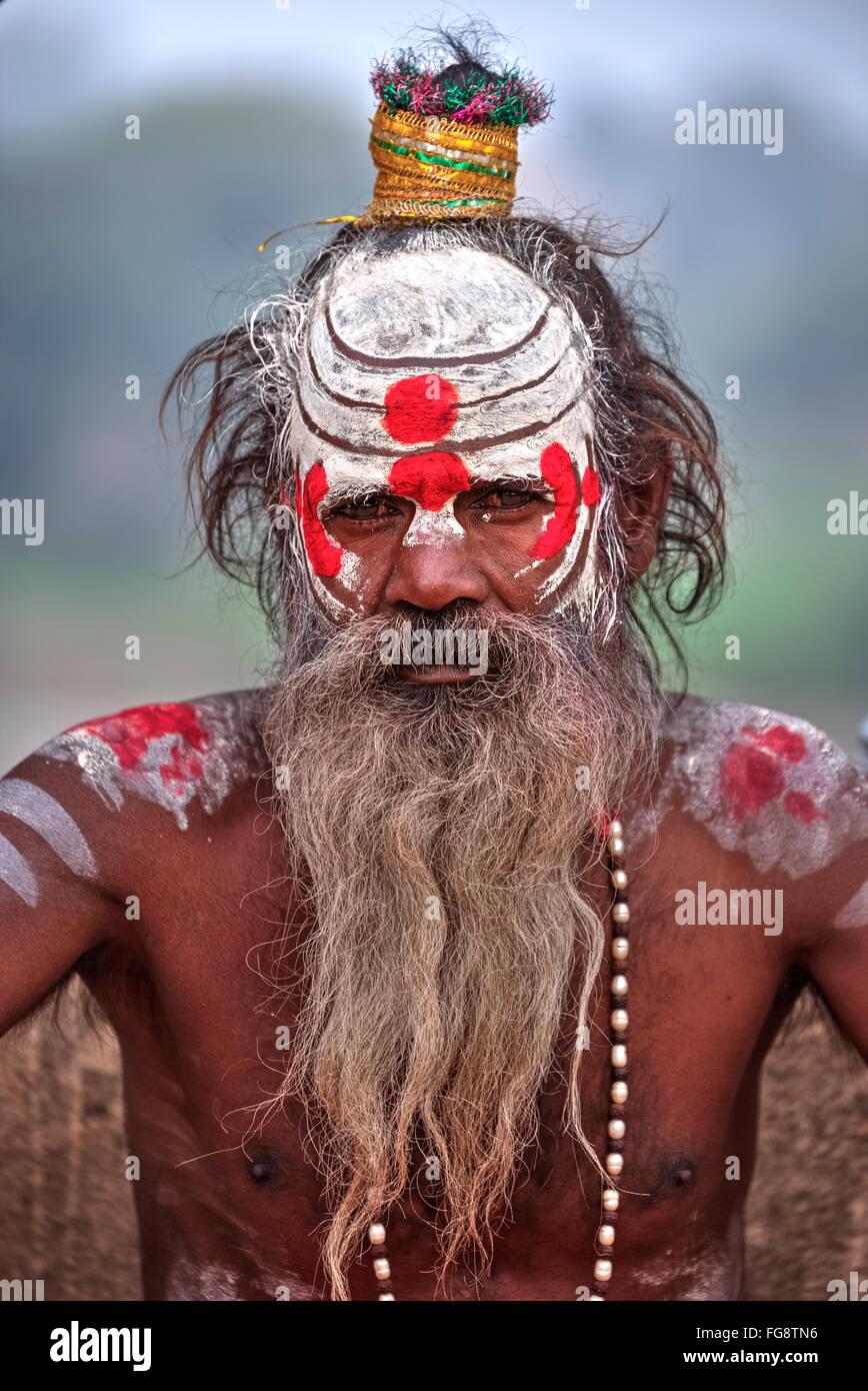 sadhu in Orccha, Madhya Pradesh, India, South Asia Stock Photo