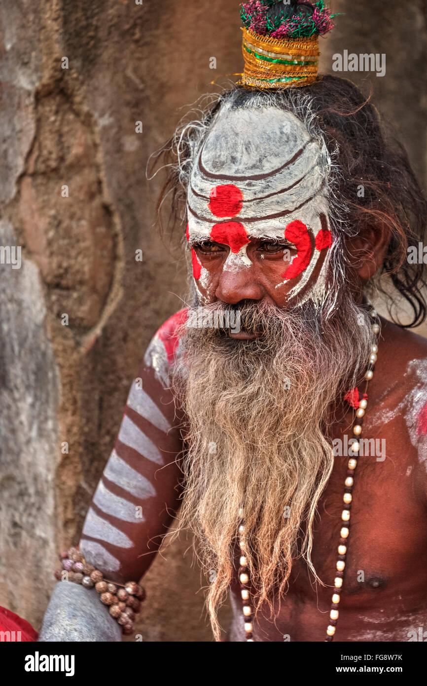 sadhu in Orccha, Madhya Pradesh, India, South Asia - Stock Image