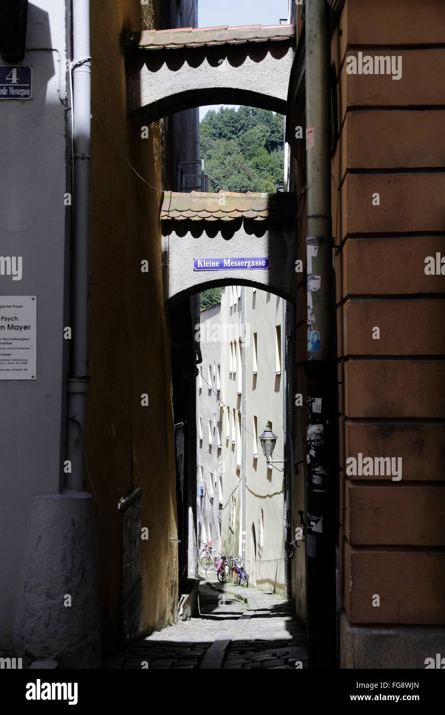 geography / travel, Germany, Bavaria, Passau, Kleine Messergasse, Additional-Rights-Clearance-Info-Not-Available - Stock Image