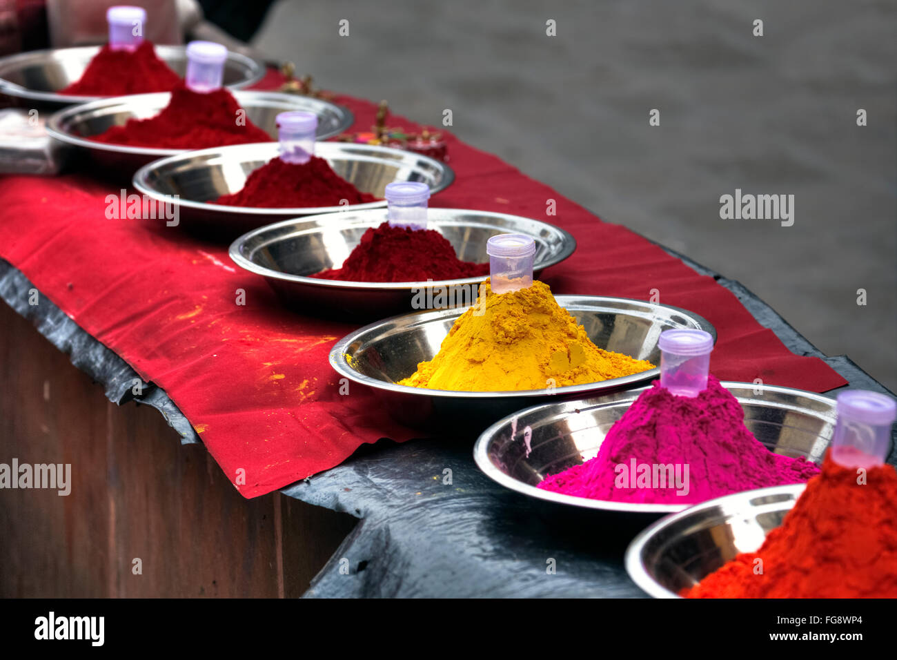 Holi colours, powder, India, Asia - Stock Image